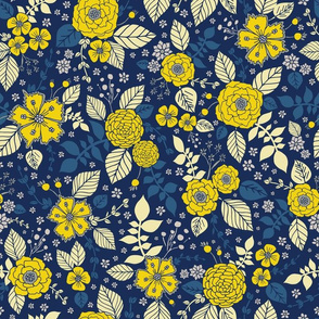 Bright Yellow & Blue Floral Print - Vibrant Flowers