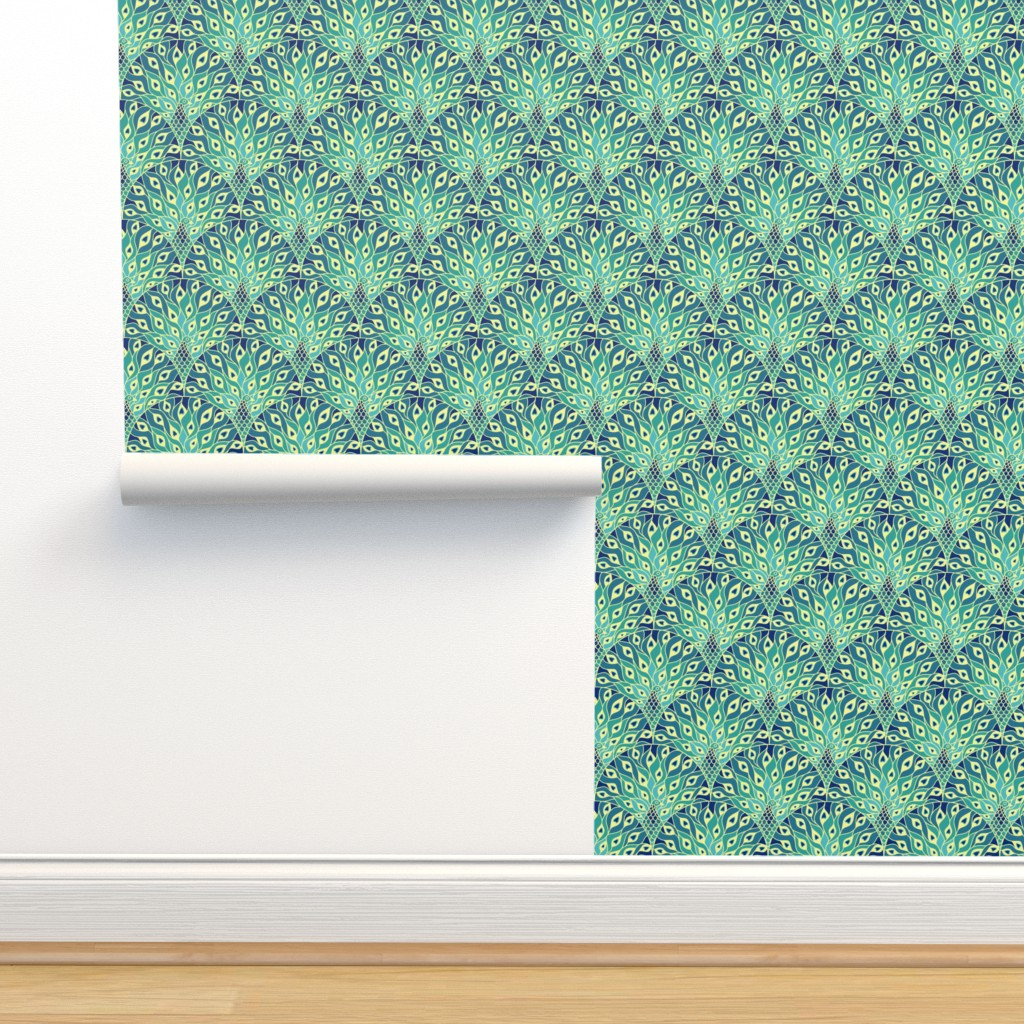 Isobar Durable Wallpaper featuring peacock (large scale) by sveta_aho