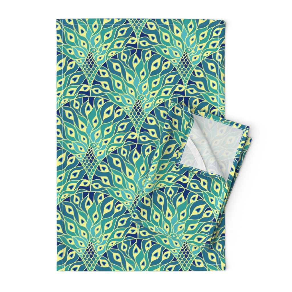 Orpington Tea Towels featuring peacock (large scale) by sveta_aho