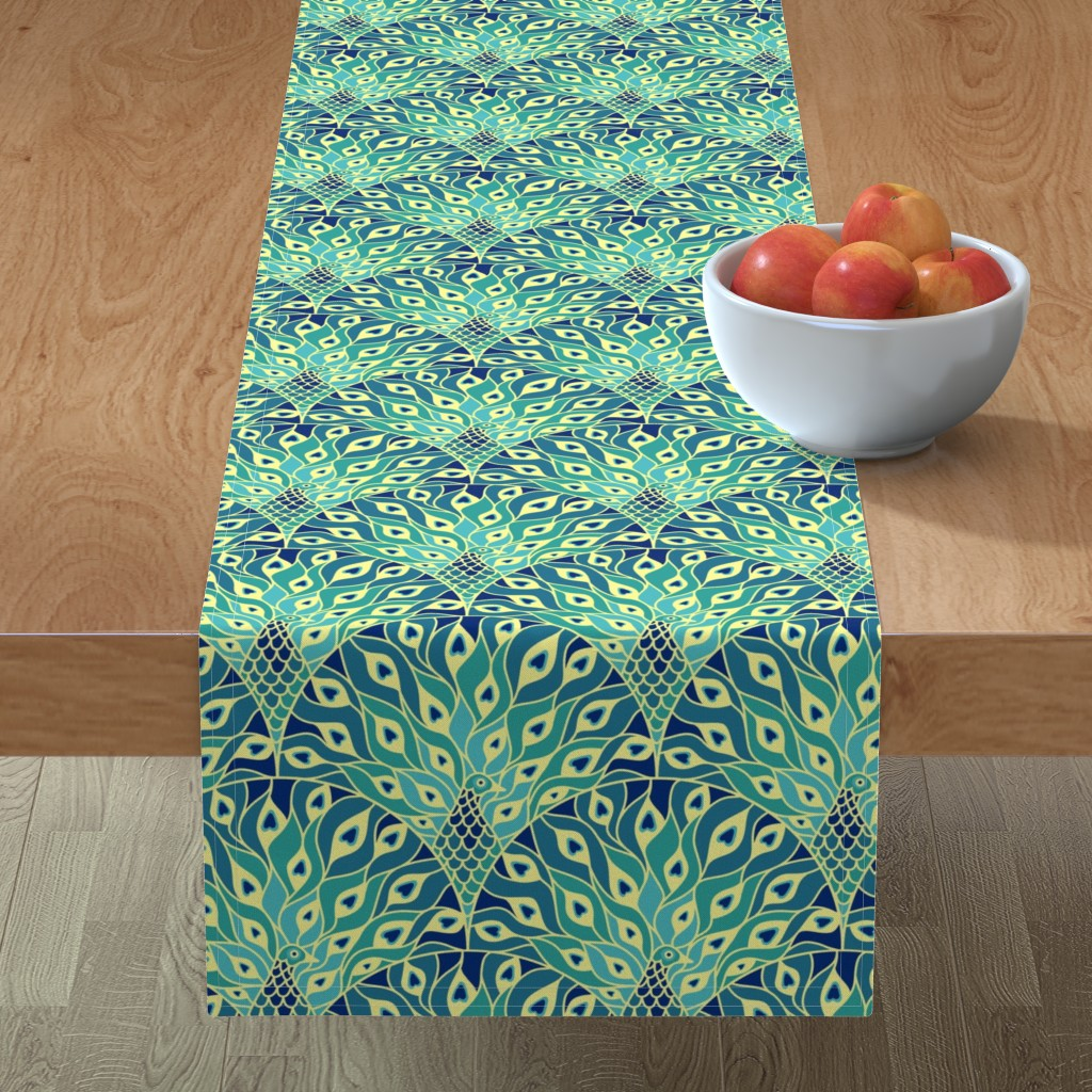Minorca Table Runner featuring peacock (large scale) by sveta_aho
