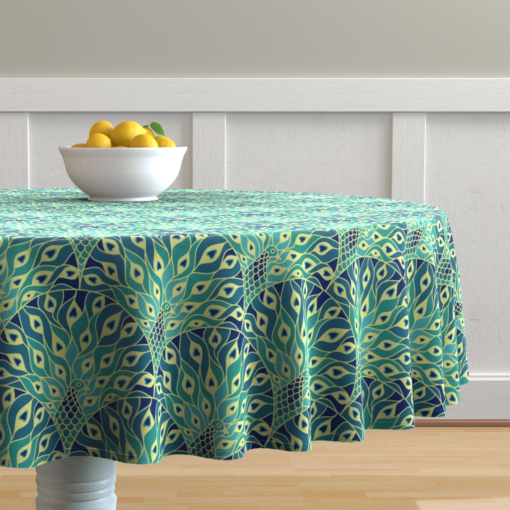 Malay Round Tablecloth featuring peacock (large scale) by sveta_aho