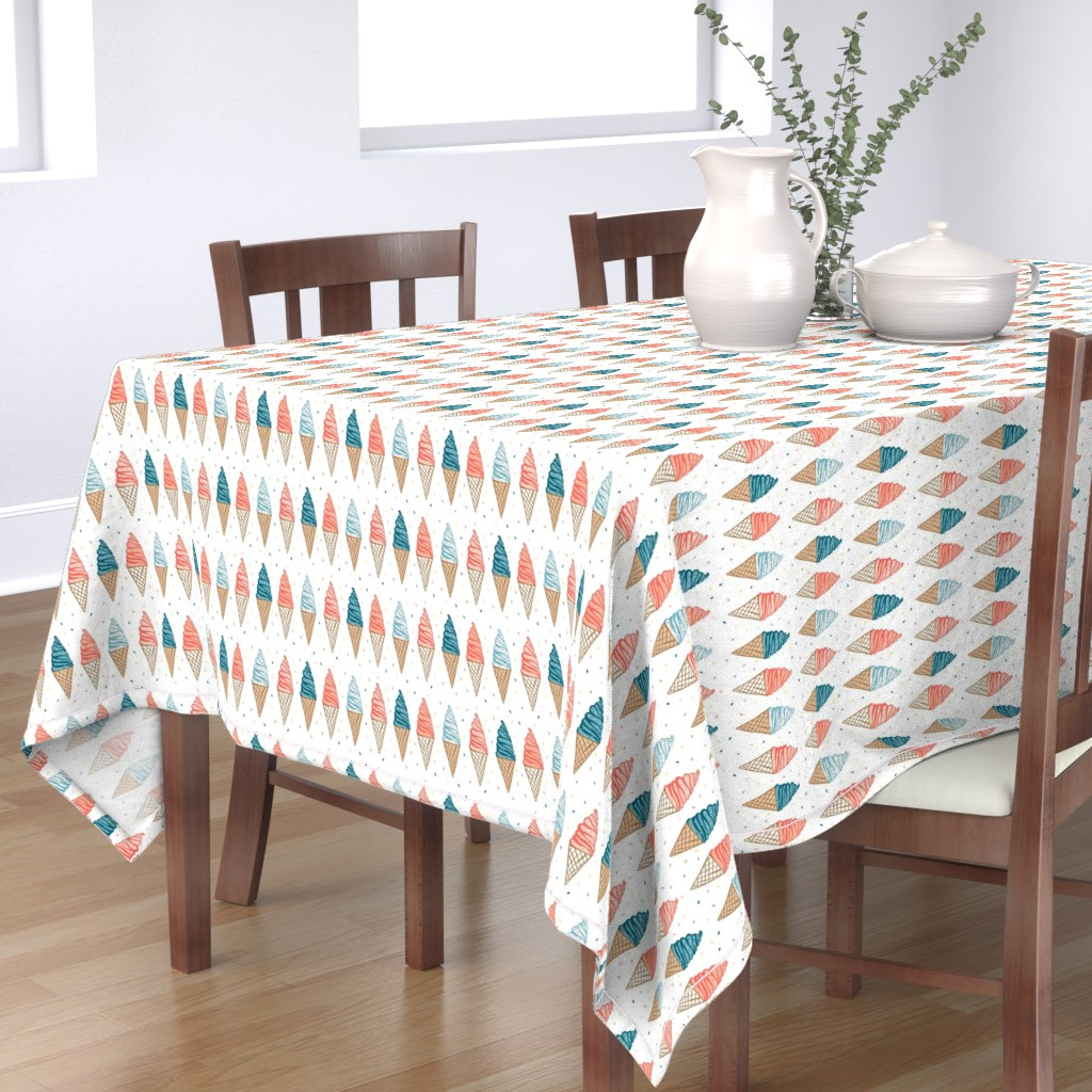 Bantam Rectangular Tablecloth featuring Soft serve ice cream cones on white by tarareed