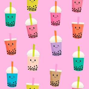 Boba Tea fabric - boba fabric, kawaii fabric, cute fabric, food fabric, bubble tea fabric, bubble tea, kawaii food - bright pink