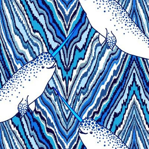 narwhal nautical chevron, large scale