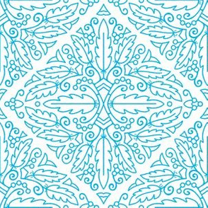 Turquoise feather doodle (med scale 6in)