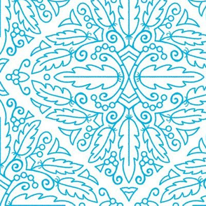 Turquoise feather doodle (large scale 10in)