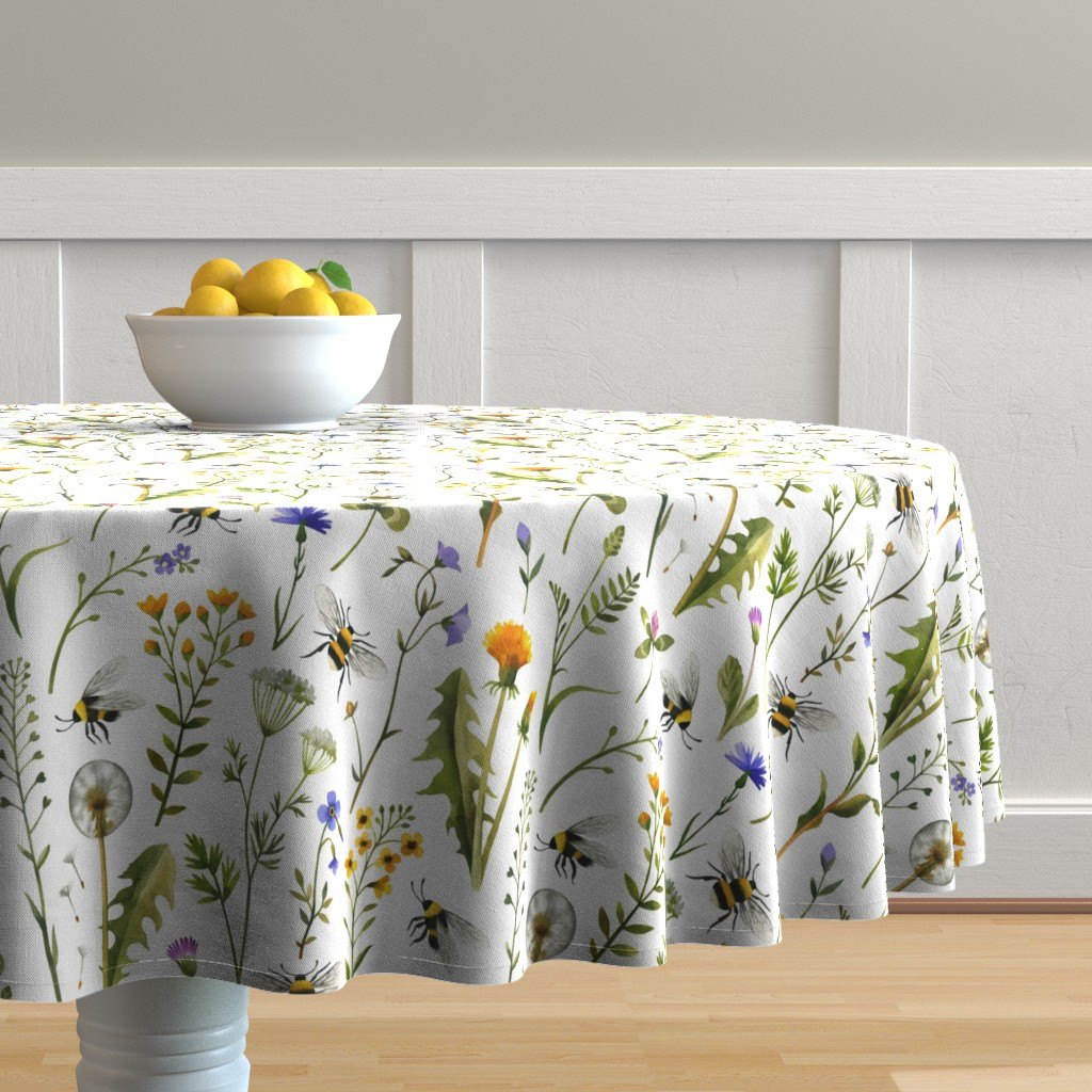 Malay Round Tablecloth featuring bees and wildflowers - white, large by mirabelleprint