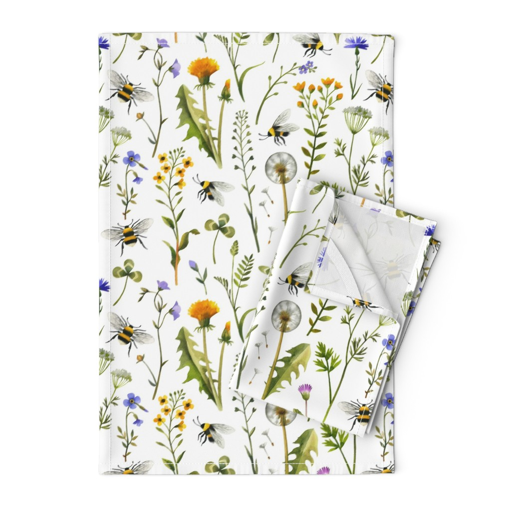 Orpington Tea Towels featuring bees and wildflowers - white, large by mirabelleprint