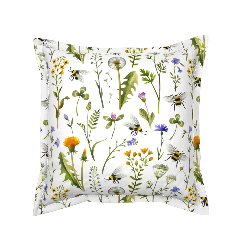 Serama Throw Pillow featuring bees and wildflowers - white, large by mirabelleprint