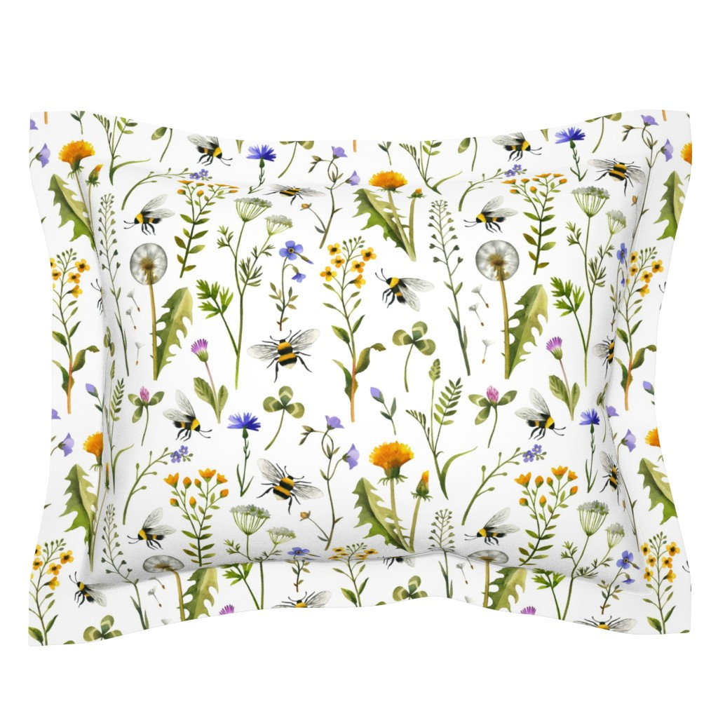 Sebright Pillow Sham featuring bees and wildflowers - white, large by mirabelleprint