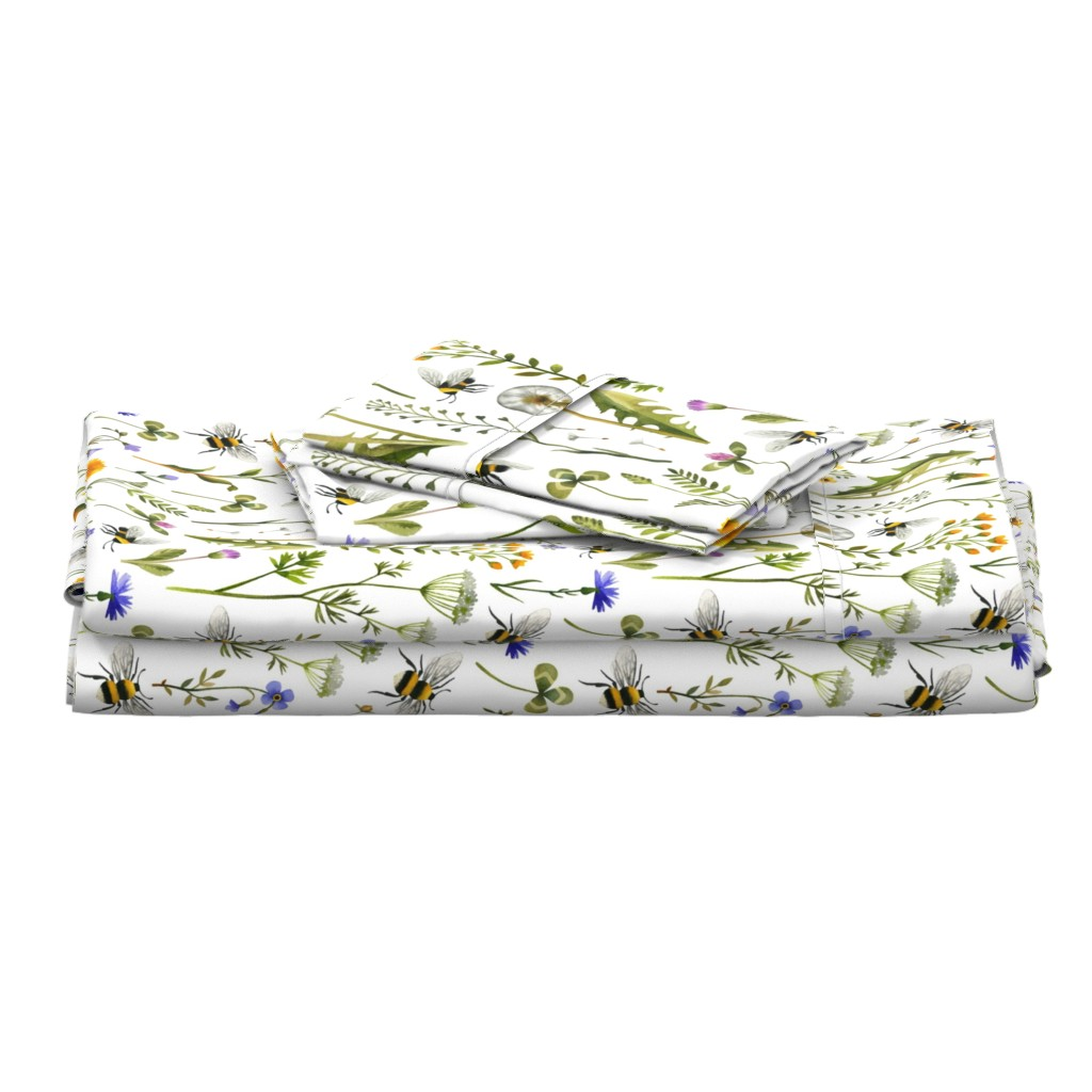 Langshan Full Bed Set featuring bees and wildflowers - white, large by mirabelleprint