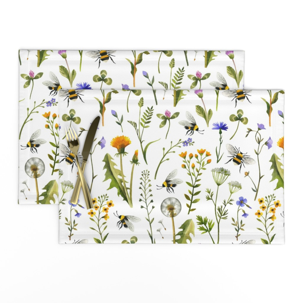 Lamona Cloth Placemats featuring bees and wildflowers - white, large by mirabelleprint
