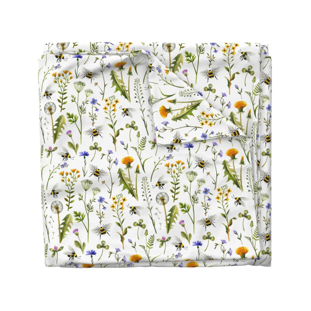 Wyandotte Duvet Cover featuring bees and wildflowers - white, large by mirabelleprint
