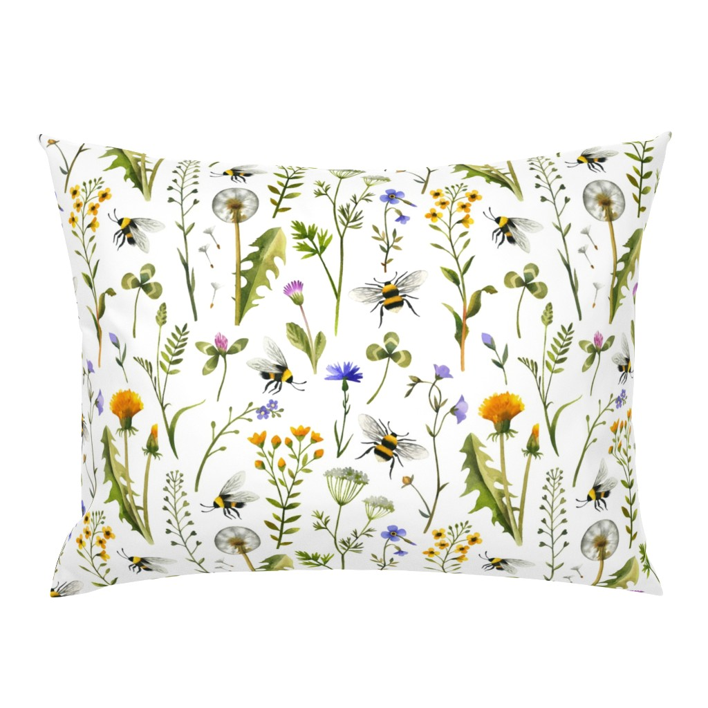 Campine Pillow Sham featuring Bees And Wildflowers / White / Large Scale by mirabelle_print