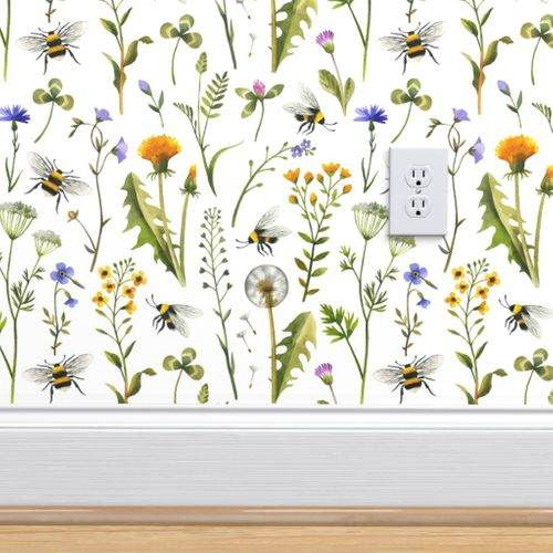 Bees And Wildflowers White Large Spoonflower