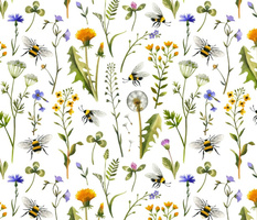 Bees And Wildflowers / White / Large Scale