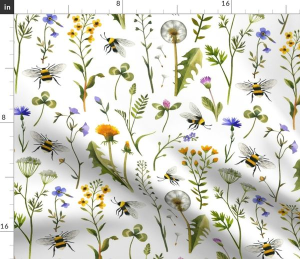 Wildflower Botanical Insects Bugs Cotton Dinner Napkins by Roostery Set of 2