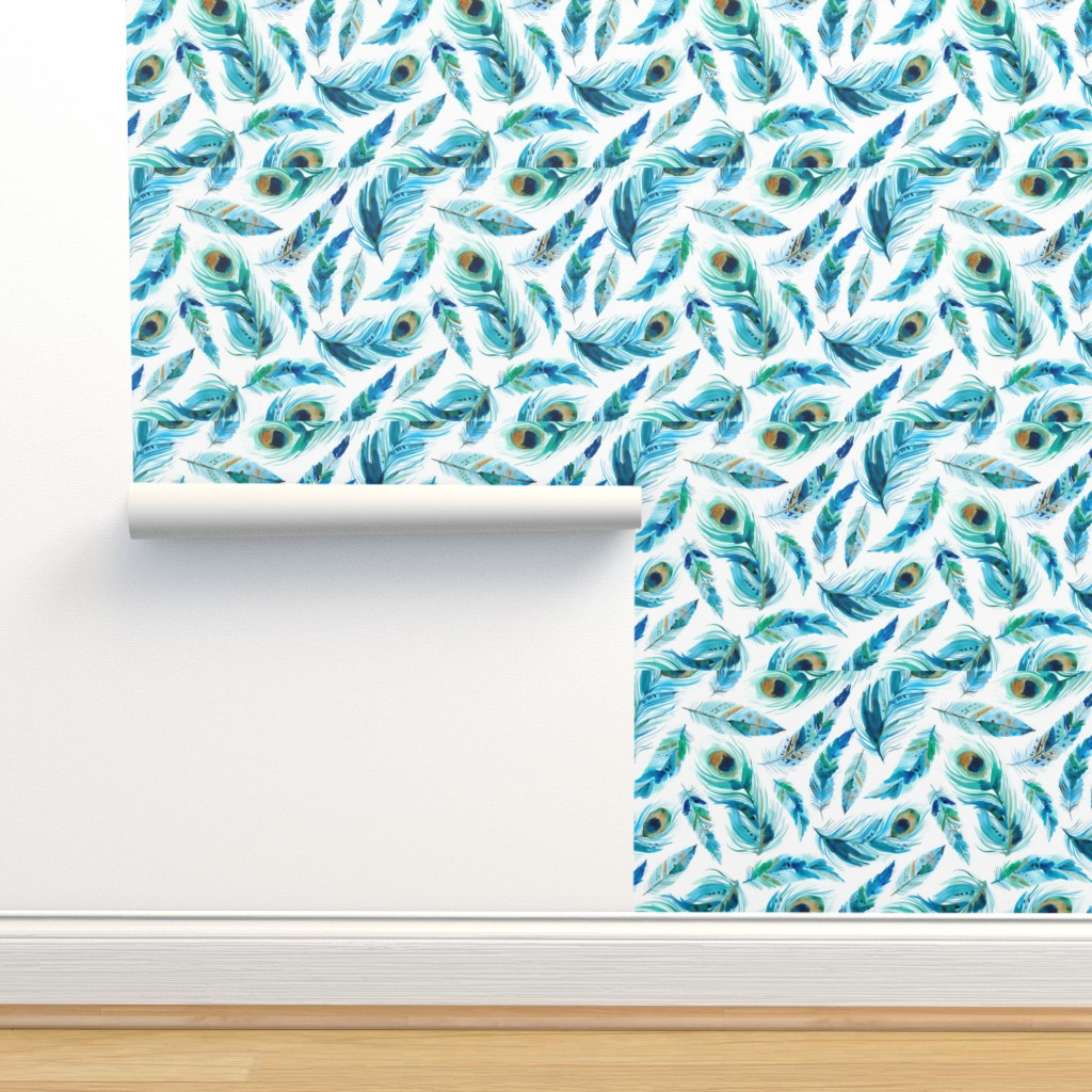 Isobar Durable Wallpaper featuring painted feathers by laura_may_designs