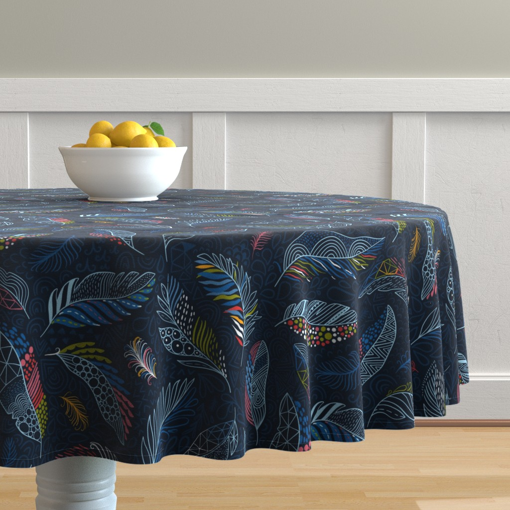 Malay Round Tablecloth featuring Beautiful colorful feathers (Anna Alekseeva) by kostolom3000