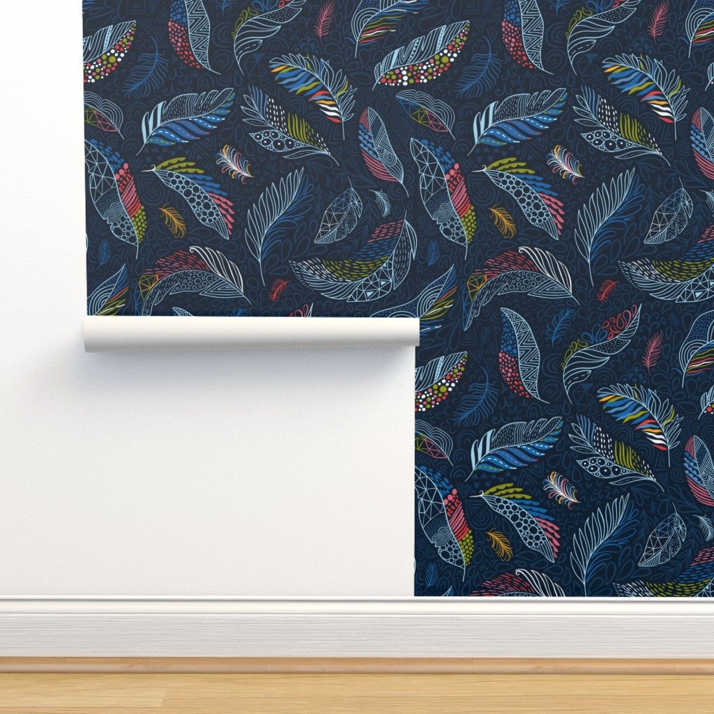 Isobar Durable Wallpaper featuring Beautiful colorful feathers (Anna Alekseeva) by kostolom3000