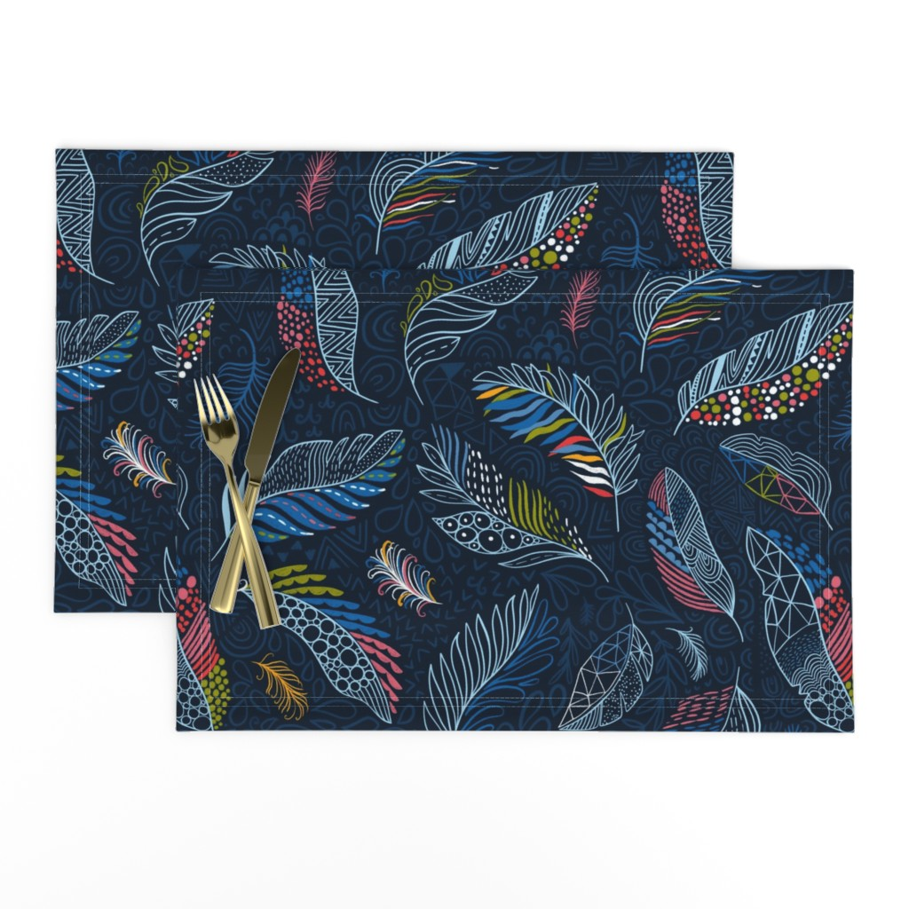 Lamona Cloth Placemats featuring Beautiful colorful feathers (Anna Alekseeva) by kostolom3000