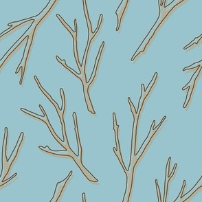Silhouettes of Branches - light brown with shadow effect on light blue - design 31