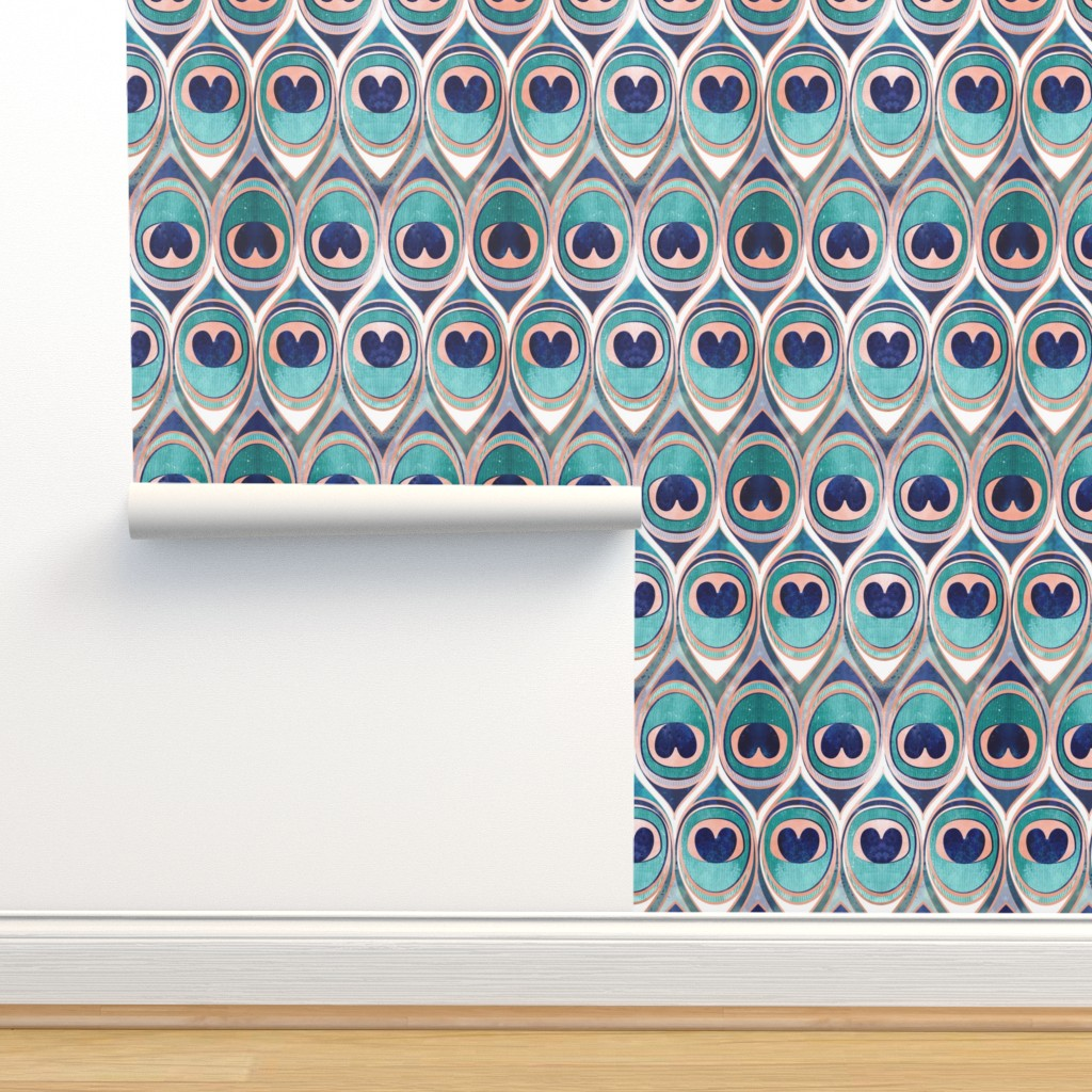 Isobar Durable Wallpaper featuring Peacock Feathers Eye // normal scale // teal blue and metal coral rose by selmacardoso
