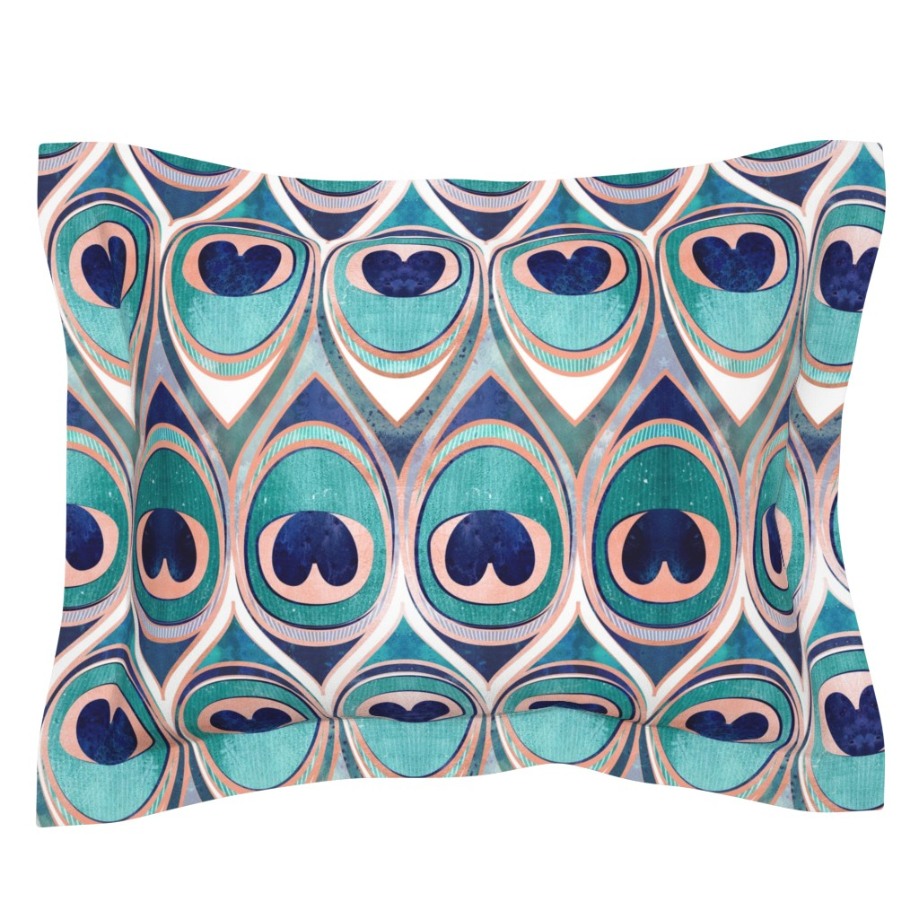 Sebright Pillow Sham featuring Peacock Feathers Eye // normal scale // teal blue and metal coral rose by selmacardoso