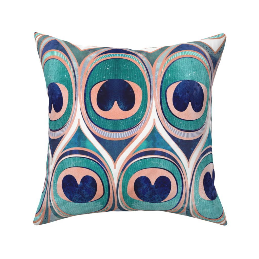 Catalan Throw Pillow featuring Peacock Feathers Eye // normal scale // teal blue and metal coral rose by selmacardoso