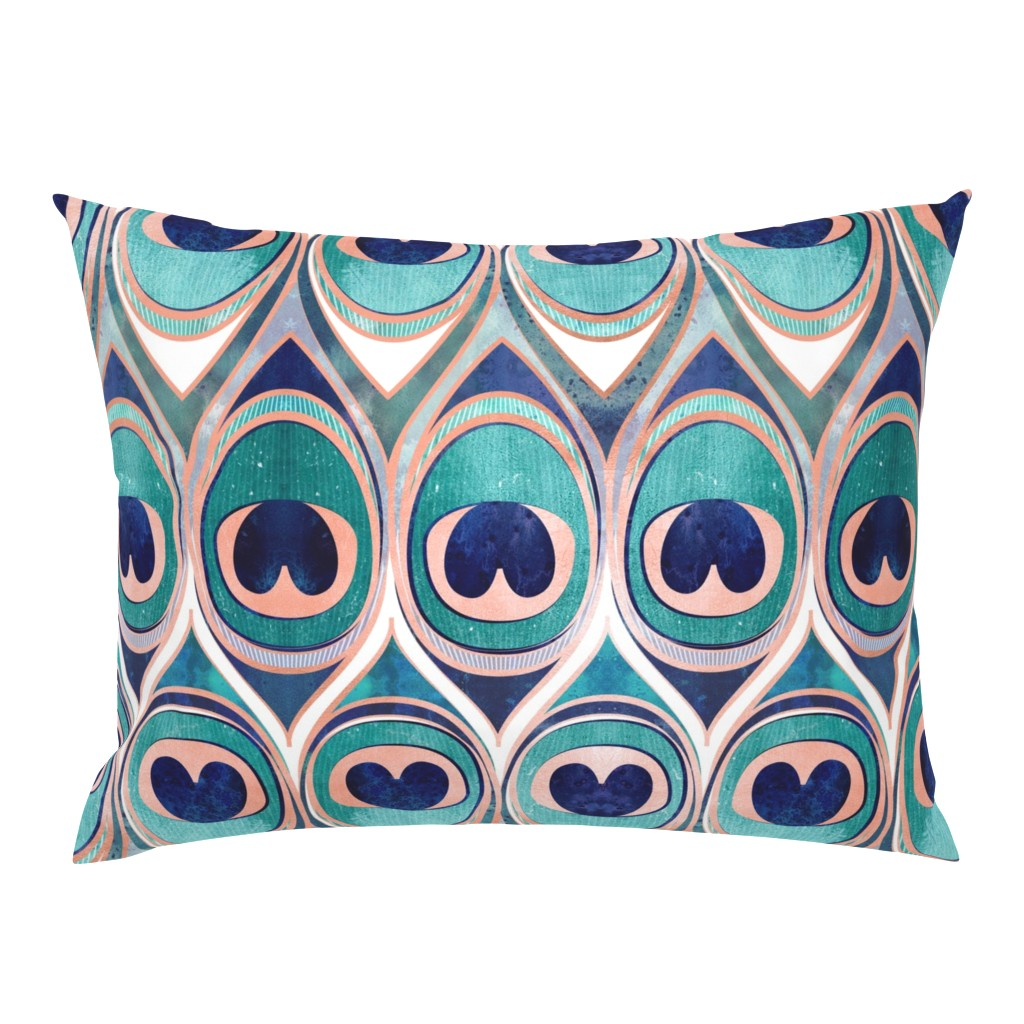 Campine Pillow Sham featuring Peacock Feathers Eye // normal scale // teal blue and metal coral rose by selmacardoso