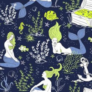 Mermaids limited color palette