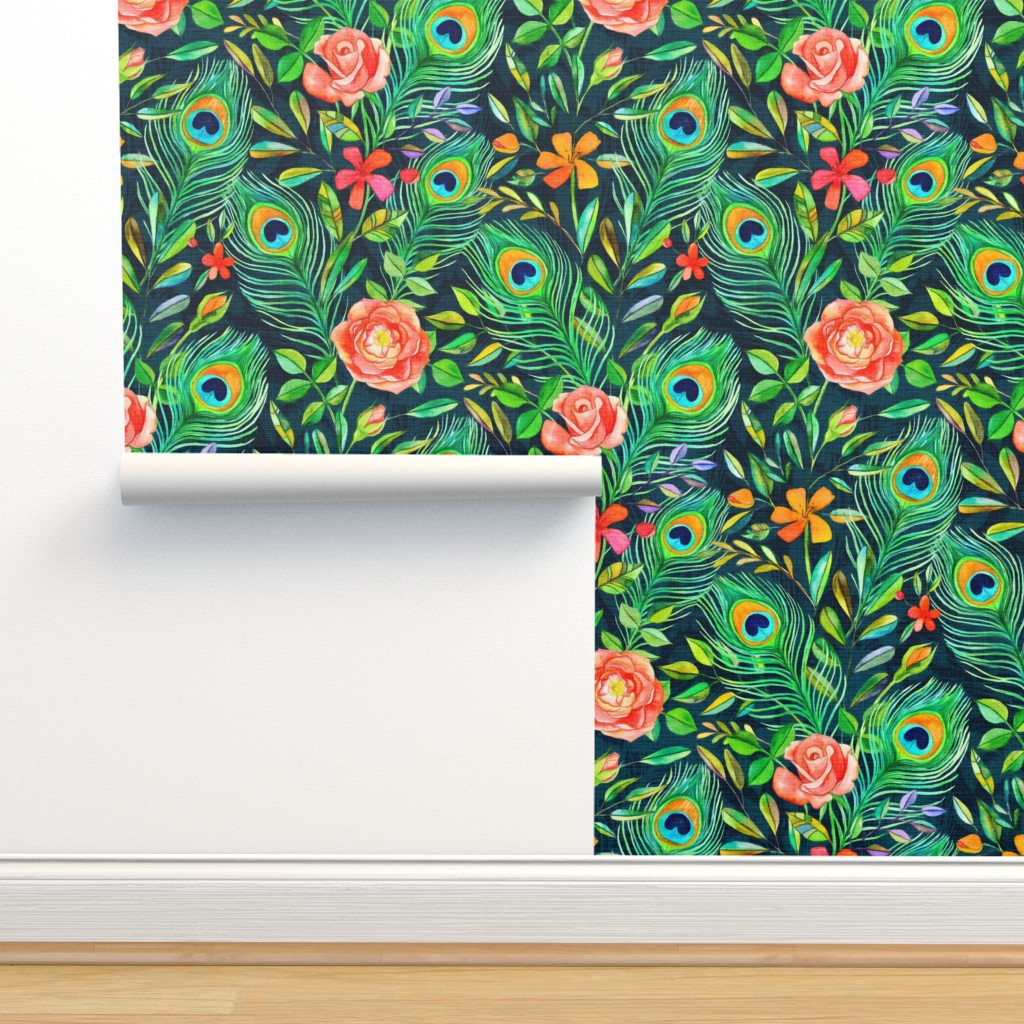 Isobar Durable Wallpaper featuring Peacock Feather Posies on dark by micklyn