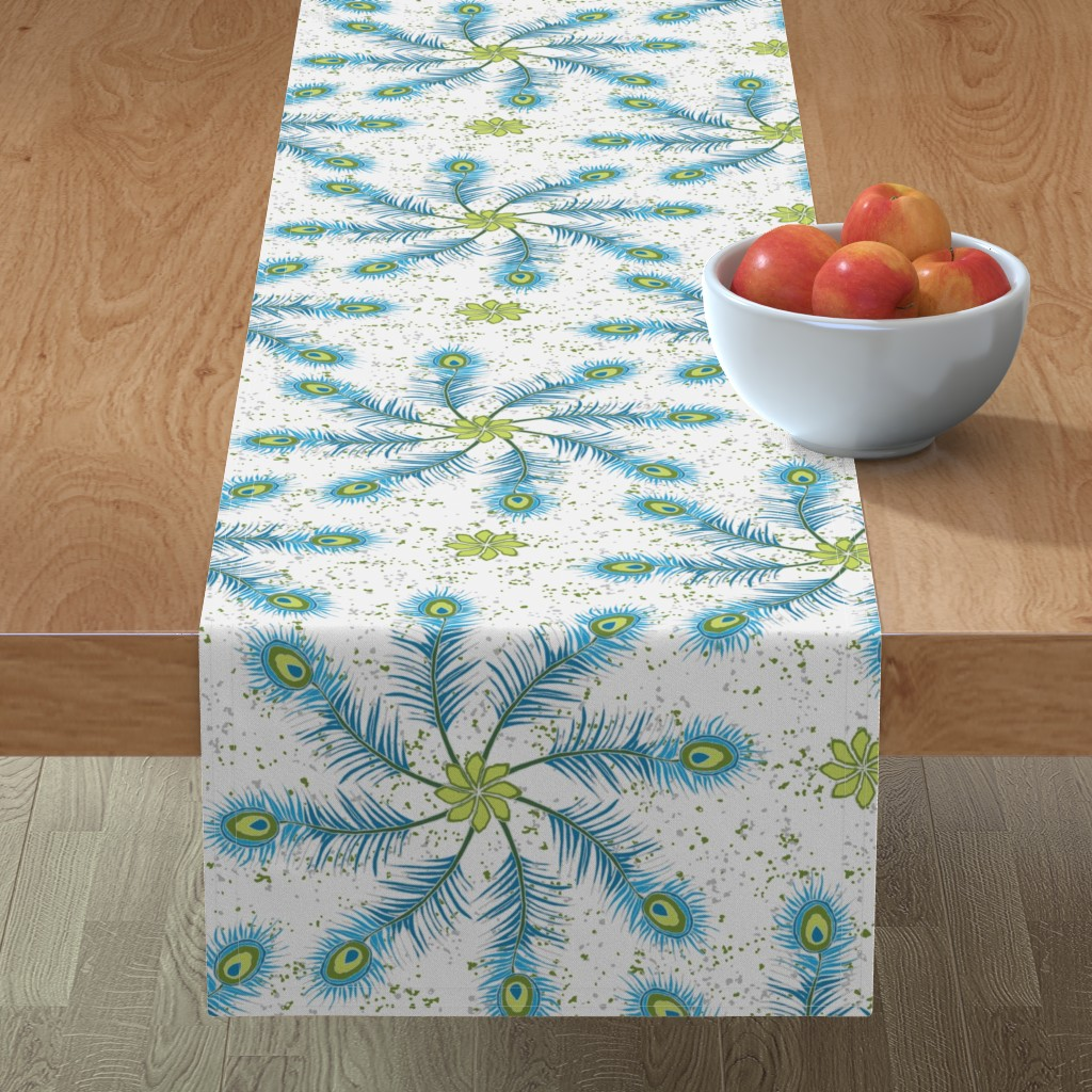 Minorca Table Runner featuring Feathers In My Mind ©Julee Wood by jewelraider