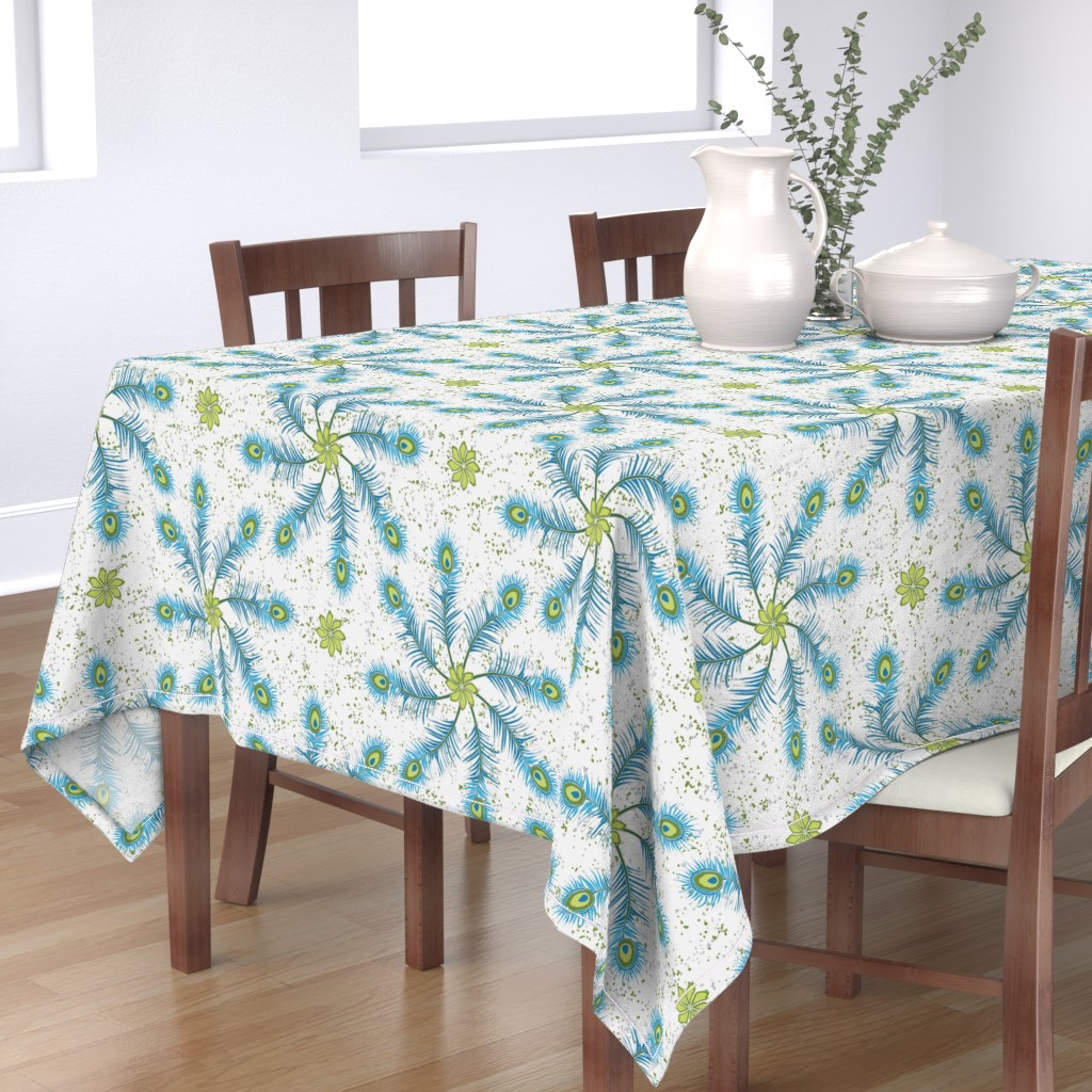 Bantam Rectangular Tablecloth featuring Feathers In My Mind ©Julee Wood by jewelraider