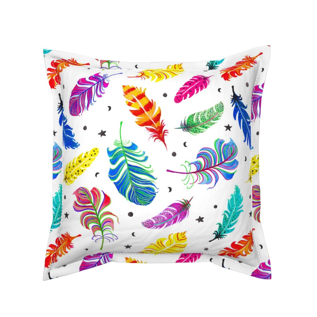 Serama Throw Pillow featuring Rainbow Feathers White Ground (Large Scale) by fancy_alice