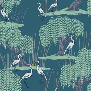 Herons of a Feather Flock Near Willow Trees