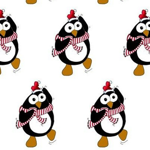 Cartoon Christmas penguin dancing.