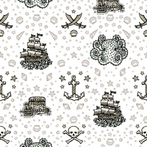 White Pirate Print