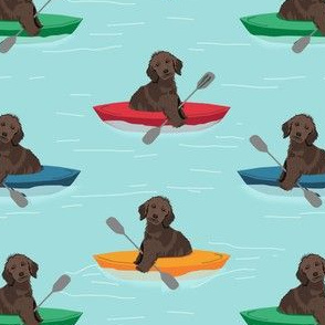 golden doodle dog fabric - kayak fabric, dog kayak fabric - brown golden doodle fabric, chocolate golden doodle fabric - dog fabric, kayaker fabric, - blue