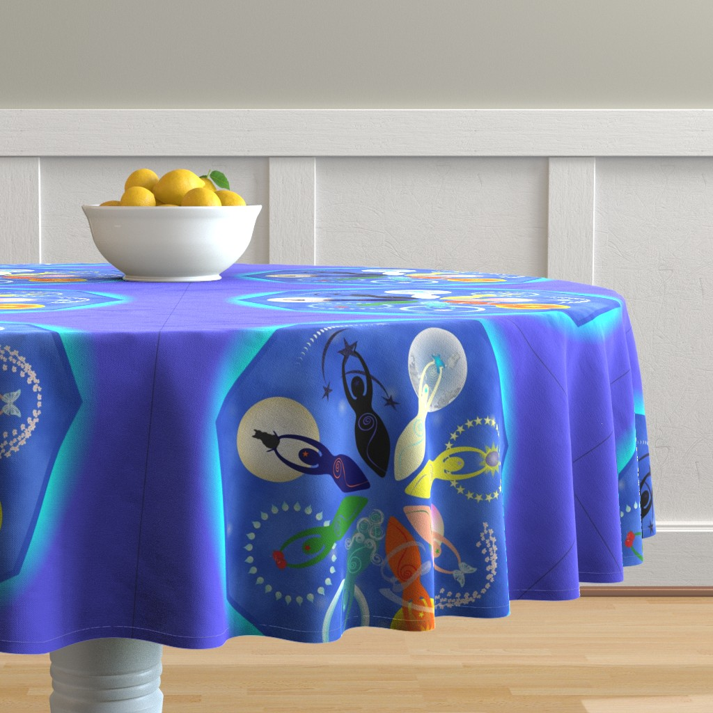 Malay Round Tablecloth featuring Wheel of Spiral Goddesses by magicinyourlivingroom