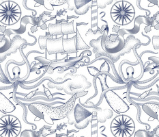 There be Monsters in the Nautical Deep Toile