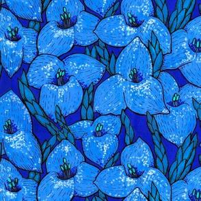 Puya Flowers Floral Pattern Royal Blue