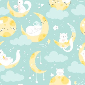 Cat and Moon - mint