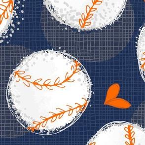 Baseball Lovers Unite! Blue and Orange Large Scale