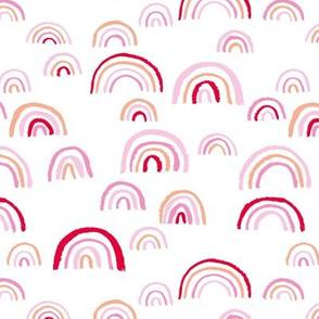 Scandinavian abstract rainbow sky pink red hot summer girls