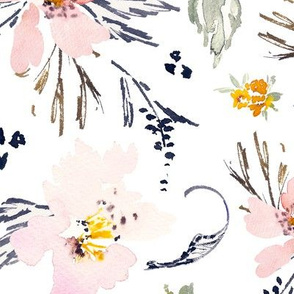 JUMBO Spring watercolour floral pink and sage