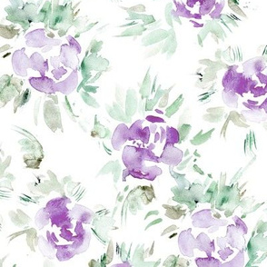 Amethyst watercolor florals || flowers for home decor