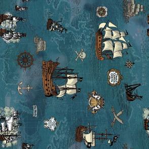 Pirate Ship Map Ocean Big Repeat Sideways