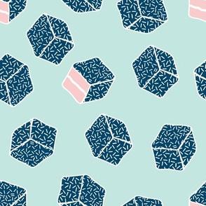 little aussie lamingtons - mint , ocean blue & blush pink