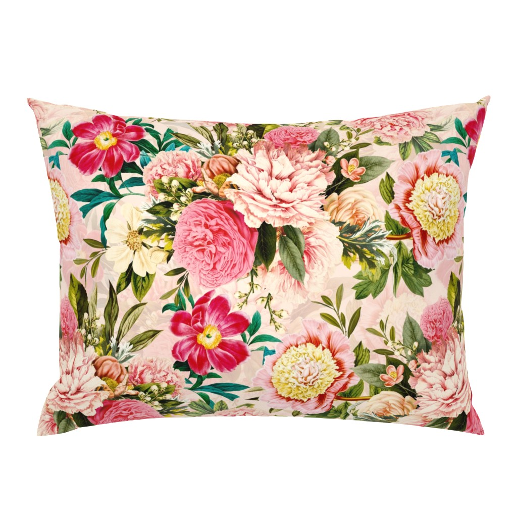 """Campine Pillow Sham featuring 18"""" Pierre-Joseph-Redoute - Historic pastel Roses and Peonies bouquets fabric on blush pink - redoute roses fabric by utart"""